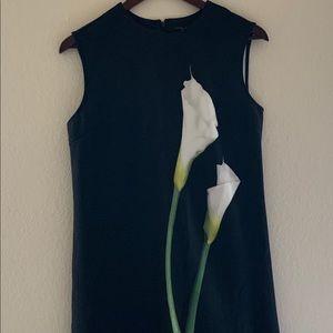 VICTORIA BECKHAM Black w/ White Calla Lily Dress